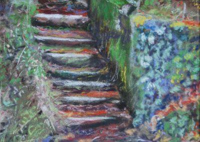 Le petit escalier sur le chemin de halage à Pont l'Abbé