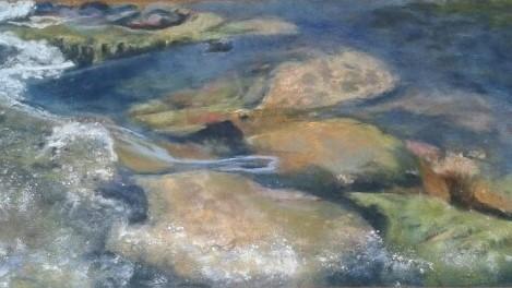 Etude de transparence d'eau avec Sylvie Poison pastelliste d'après une de ses oeuvres
