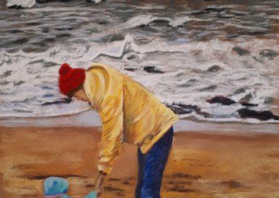 158i-2019 mère et enfant sur la plage