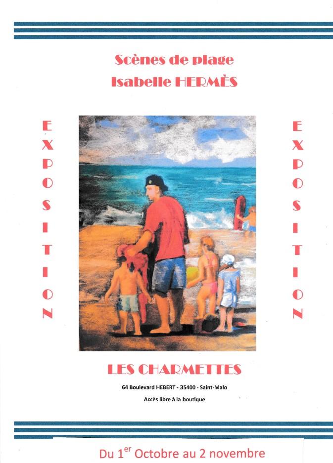 Exposition Les Charmettes Saint-Malo Scènes de plage par Isabelle HERMES